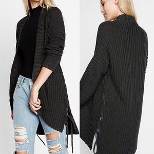 Express Ribbed Knit Lace-up Tie Side Cardigan